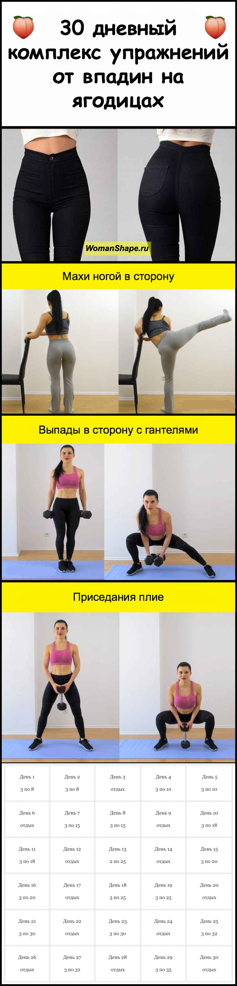 Комплекс упражнений от впадин на ягодицах